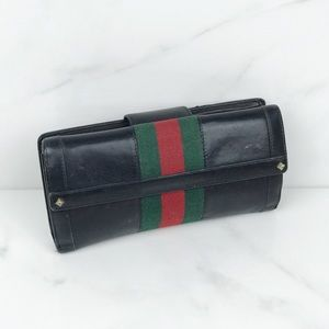 Gucci Web Black Leather Snap Wallet Red Stripe